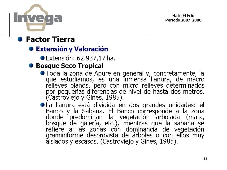 Hato El Frío Periodo 2007-2008 11 Factor Tierra Extensión y Valoración Extensión: 62.937,17 ha. Bosque Seco Tropical Toda la zona de Apure en general