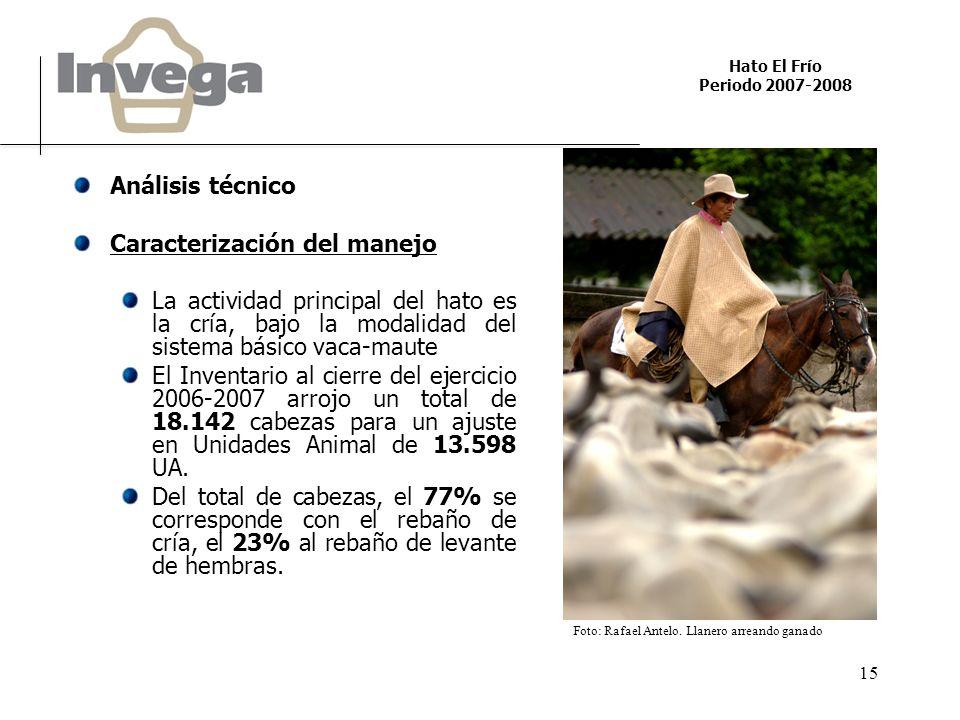 Hato El Frío Periodo 2007-2008 15 Análisis técnico Caracterización del manejo La actividad principal del hato es la cría, bajo la modalidad del sistem