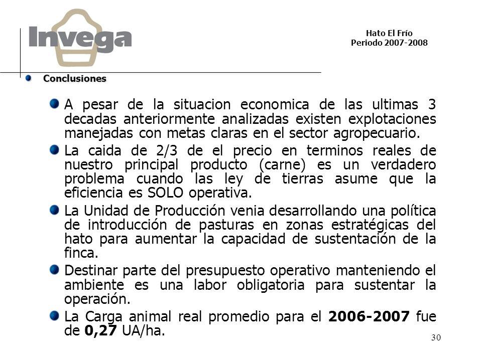 Hato El Frío Periodo 2007-2008 30 Conclusiones A pesar de la situacion economica de las ultimas 3 decadas anteriormente analizadas existen explotaciones manejadas con metas claras en el sector agropecuario.