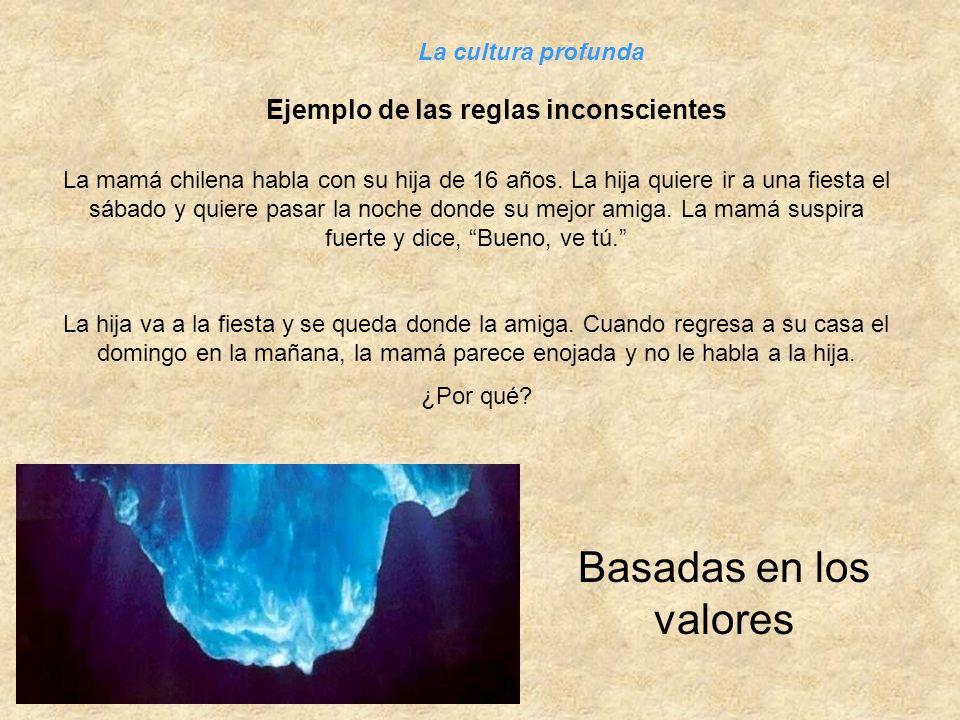 Ejemplo de las reglas inconscientes La cultura profunda La mamá chilena habla con su hija de 16 años. La hija quiere ir a una fiesta el sábado y quier