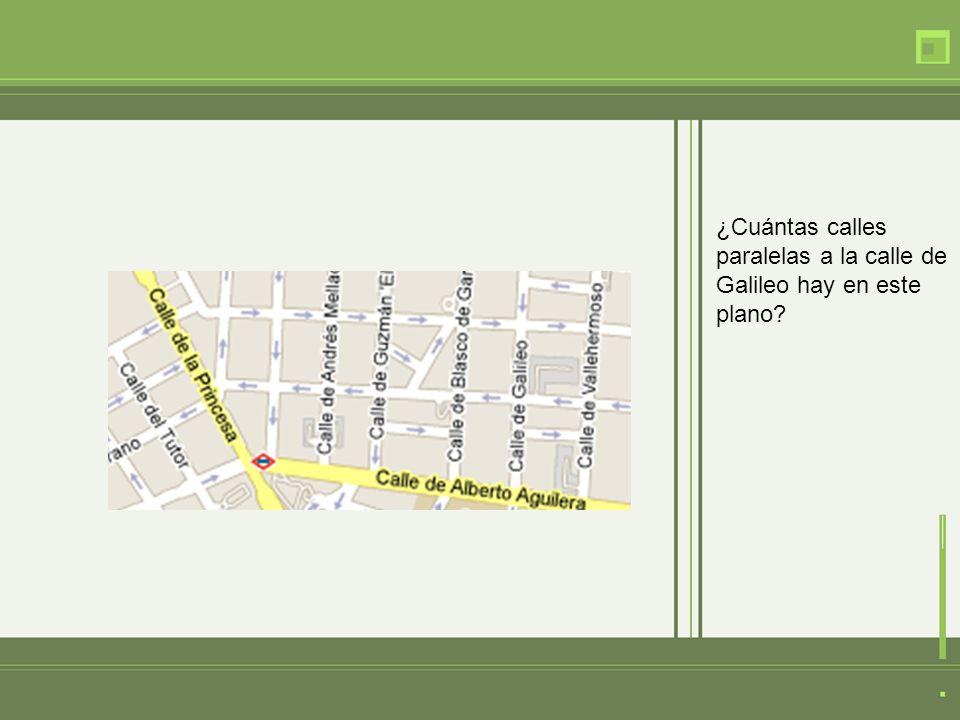 ¿Cuántas calles paralelas a la calle de Galileo hay en este plano?