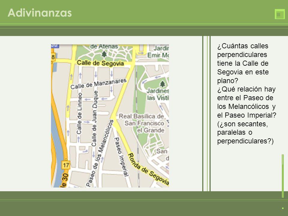 Adivinanzas ¿Cuántas calles perpendiculares tiene la Calle de Segovia en este plano? ¿Qué relación hay entre el Paseo de los Melancólicos y el Paseo I