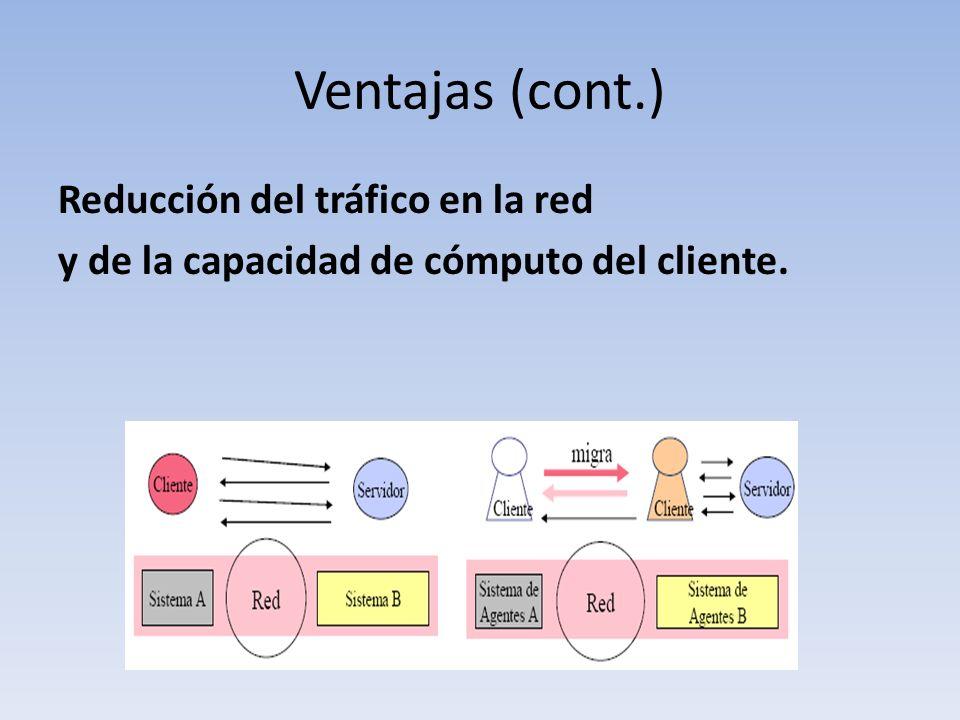 Ventajas (cont.) Reducción del tráfico en la red y de la capacidad de cómputo del cliente.