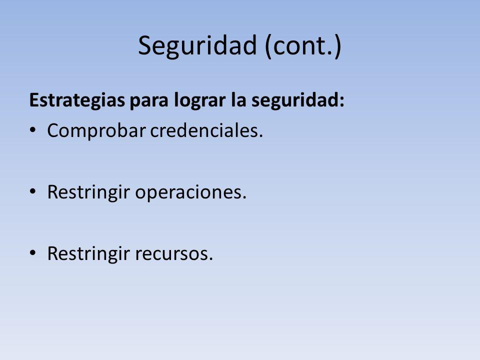 Seguridad (cont.) Estrategias para lograr la seguridad: Comprobar credenciales.