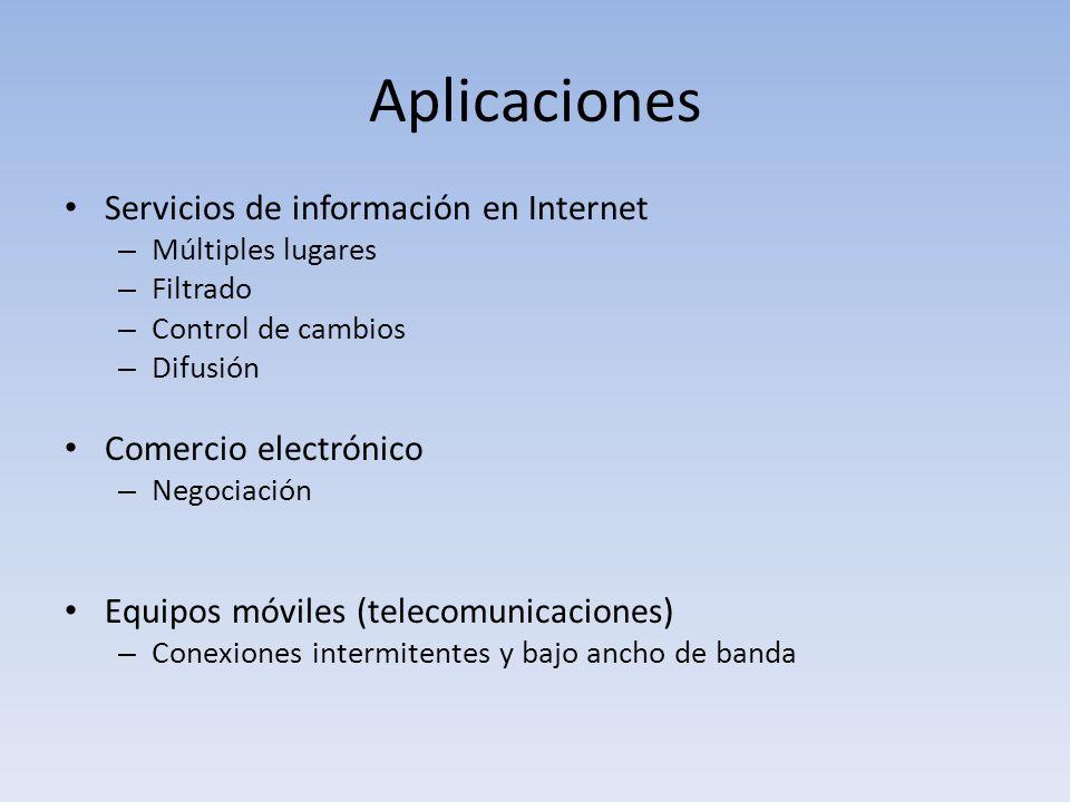 Aplicaciones Servicios de información en Internet – Múltiples lugares – Filtrado – Control de cambios – Difusión Comercio electrónico – Negociación Equipos móviles (telecomunicaciones) – Conexiones intermitentes y bajo ancho de banda