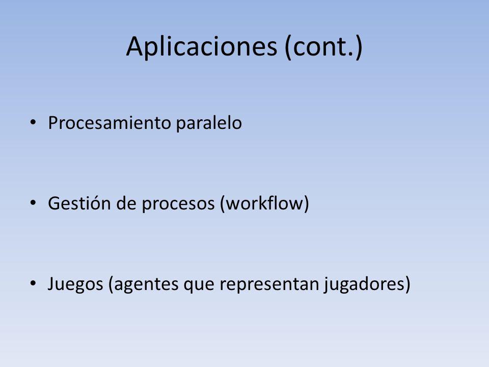 Aplicaciones (cont.) Procesamiento paralelo Gestión de procesos (workflow) Juegos (agentes que representan jugadores)