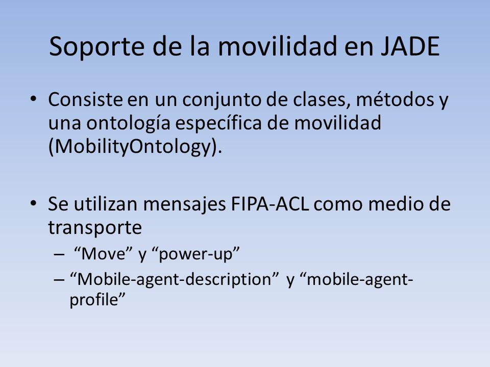 Soporte de la movilidad en JADE Consiste en un conjunto de clases, métodos y una ontología específica de movilidad (MobilityOntology).