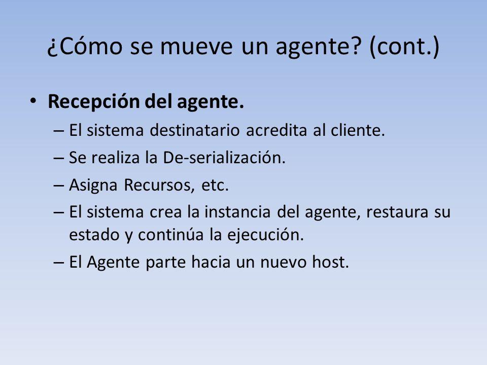 ¿Cómo se mueve un agente. (cont.) Recepción del agente.