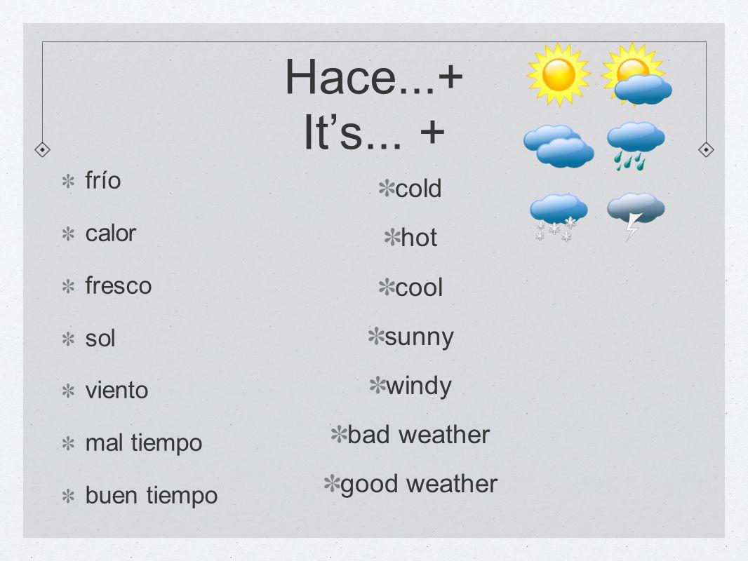 está nublado está nevando está lloviendo hay sol hay viento hay una tormenta its cloudy its snowing its raining there is sun there is wind there is a storm ¿Qué tiempo hace.