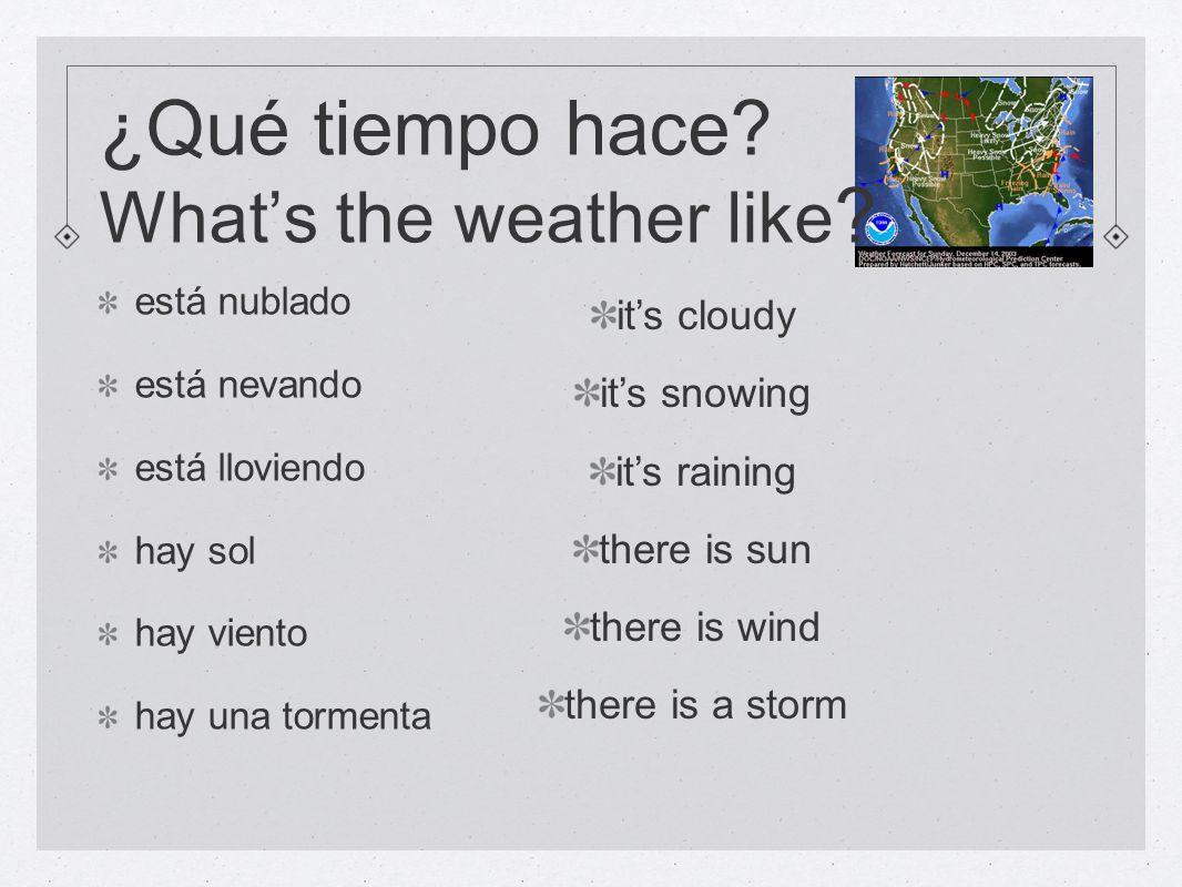está nublado está nevando está lloviendo hay sol hay viento hay una tormenta its cloudy its snowing its raining there is sun there is wind there is a