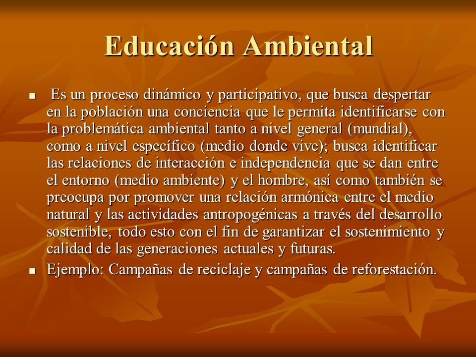 Educación Ambiental Es un proceso dinámico y participativo, que busca despertar en la población una conciencia que le permita identificarse con la pro