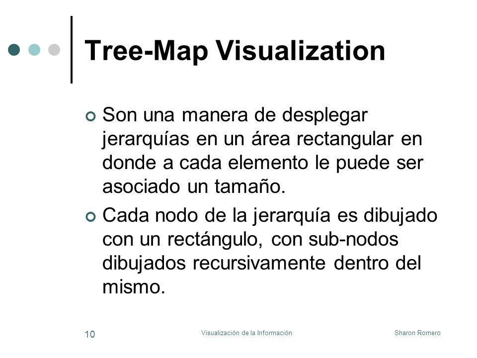 Sharon RomeroVisualización de la Información 10 Tree-Map Visualization Son una manera de desplegar jerarquías en un área rectangular en donde a cada e