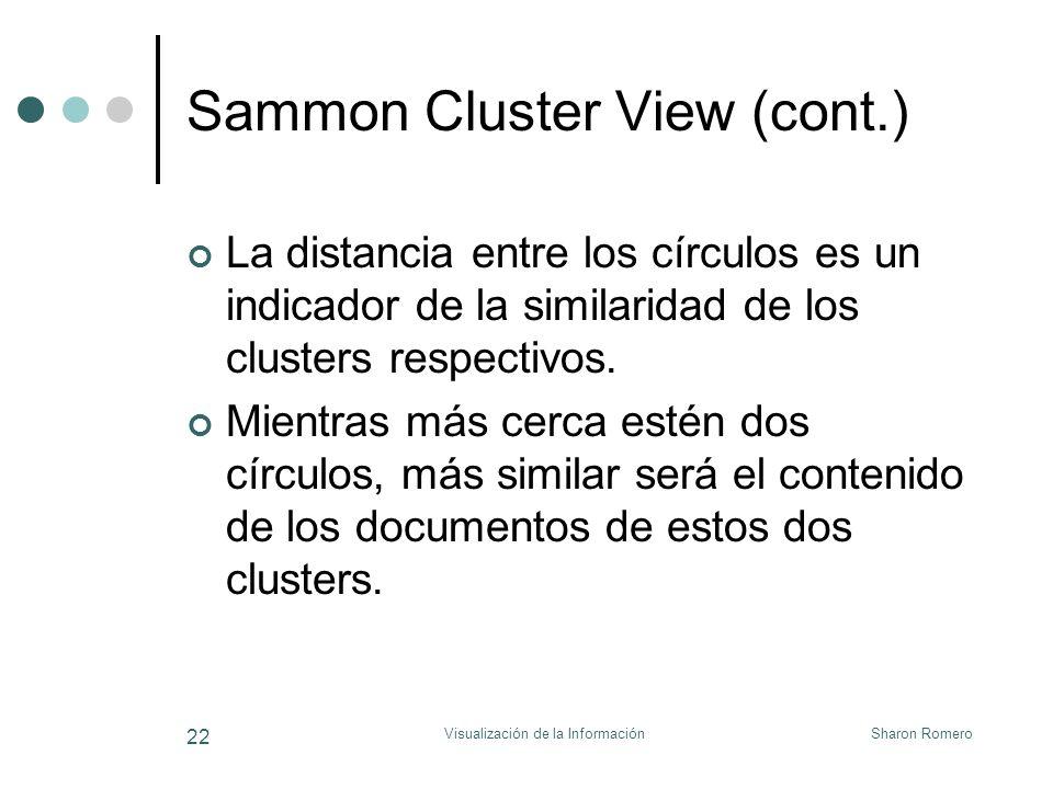 Sharon RomeroVisualización de la Información 22 Sammon Cluster View (cont.) La distancia entre los círculos es un indicador de la similaridad de los c