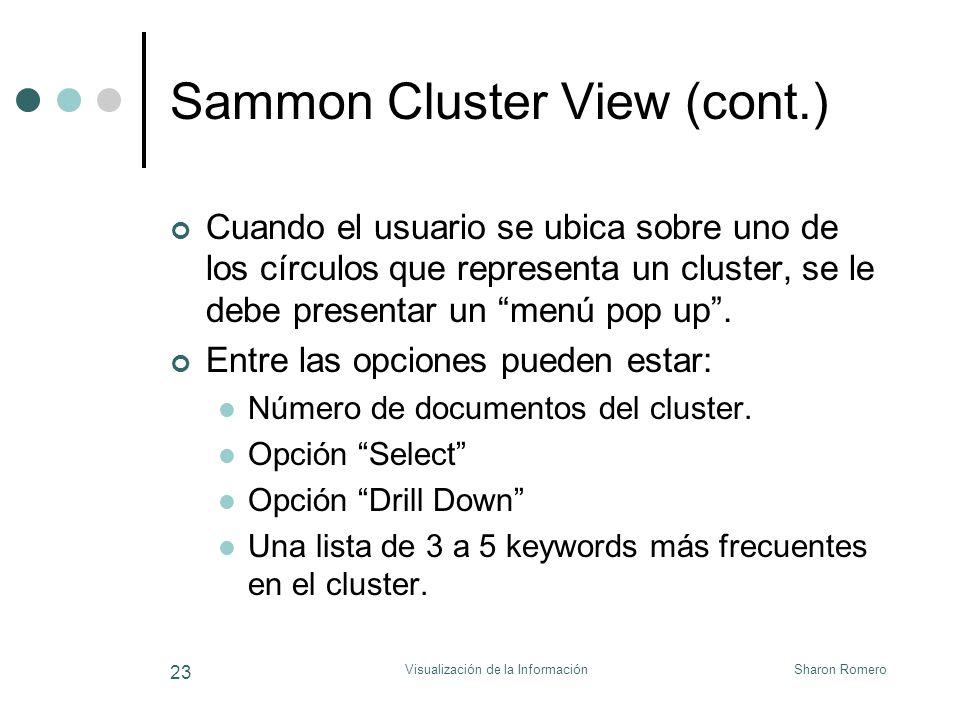 Sharon RomeroVisualización de la Información 23 Sammon Cluster View (cont.) Cuando el usuario se ubica sobre uno de los círculos que representa un clu