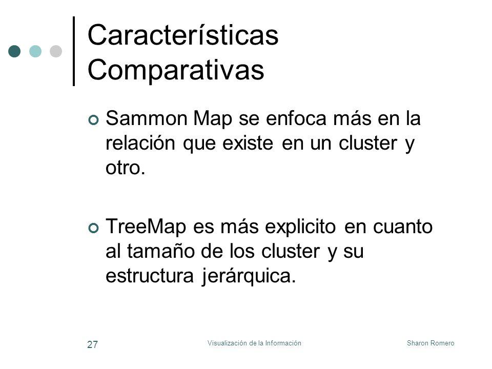 Sharon RomeroVisualización de la Información 27 Características Comparativas Sammon Map se enfoca más en la relación que existe en un cluster y otro.