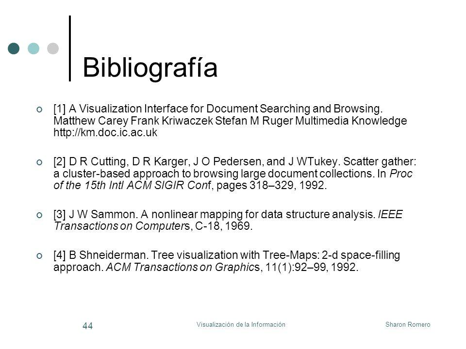 Sharon RomeroVisualización de la Información 44 Bibliografía [1] A Visualization Interface for Document Searching and Browsing. Matthew Carey Frank Kr