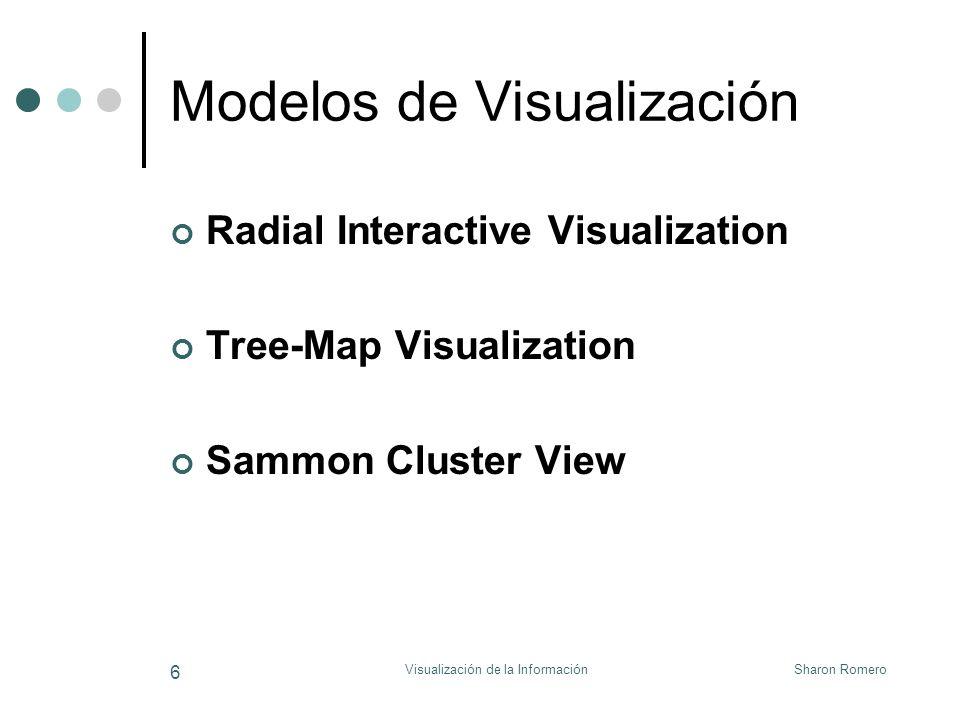 Sharon RomeroVisualización de la Información 7 Radial Interactive Visualization Nodos son alineados de manera que se ubiquen en forma de círculo Los documentos son representados por puntos que serán colocados dentro del círculo