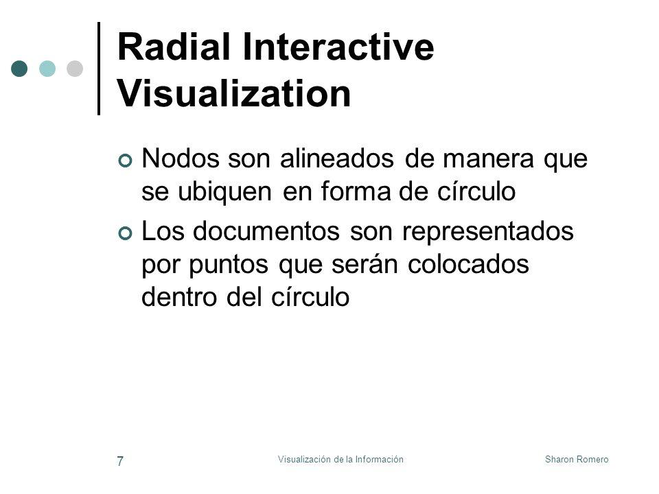 Sharon RomeroVisualización de la Información 8 Radial Interactive Visualization (cont.) Mientras más se relaciona un documento con un keyword, más cerca se ubica el punto correspondiente dento del círculo