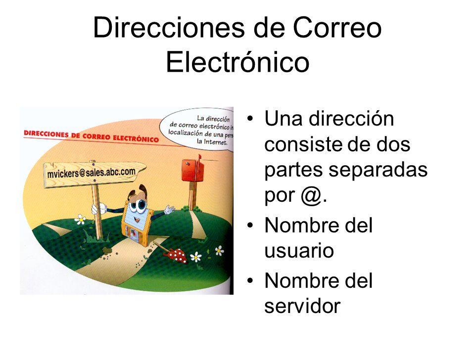 Direcciones de Correo Electrónico Una dirección consiste de dos partes separadas por @. Nombre del usuario Nombre del servidor