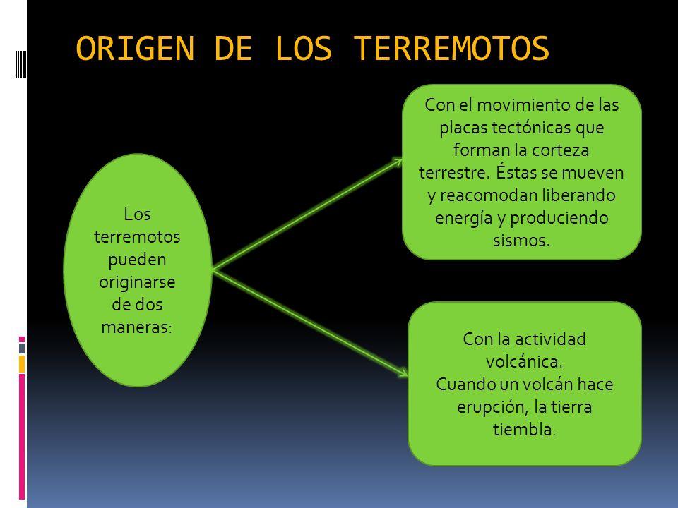 ORIGEN DE LOS TERREMOTOS Los terremotos pueden originarse de dos maneras: Con el movimiento de las placas tectónicas que forman la corteza terrestre.