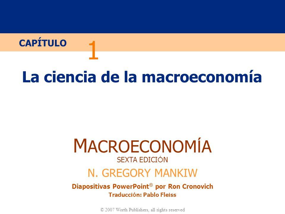 Diapositiva 10 CAPÍTULO 1 La ciencia de la macroeconomía Modelos Económicos …son una versión simplificada de una realidad más compleja Se descartan los detalles irrelevantes …son utilizados para Mostrar relaciones entre variables Explicar el comportamiento de la economía Llevar a cabo políticas para mejorar el funcionamiento de la economía
