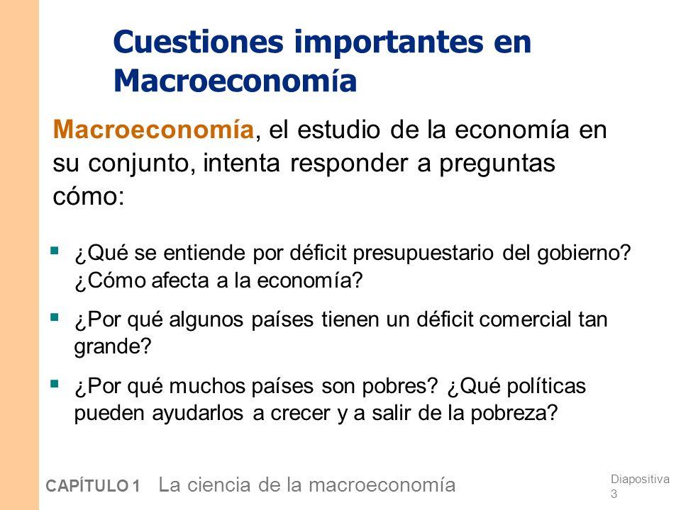 Diapositiva 3 CAPÍTULO 1 La ciencia de la macroeconomía Cuestiones importantes en Macroeconom í a ¿Qué se entiende por déficit presupuestario del gobierno.