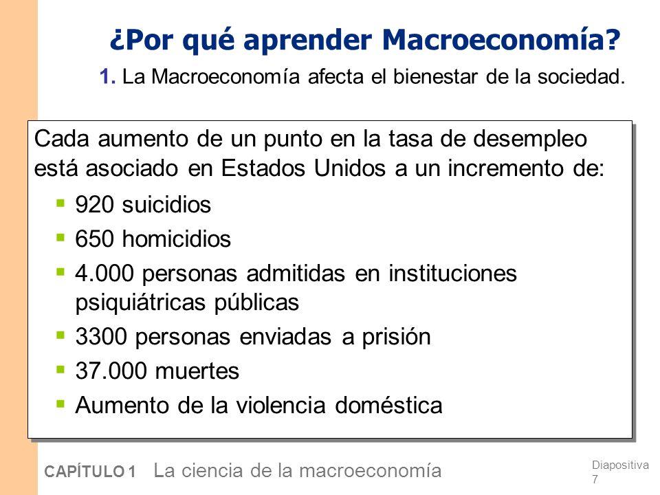Resumen La macroeconomía es el estudio de la economía en su conjunto, incluyendo Crecimiento de las rentas, Variaciones del nivel general de precios, La tasa de paro.