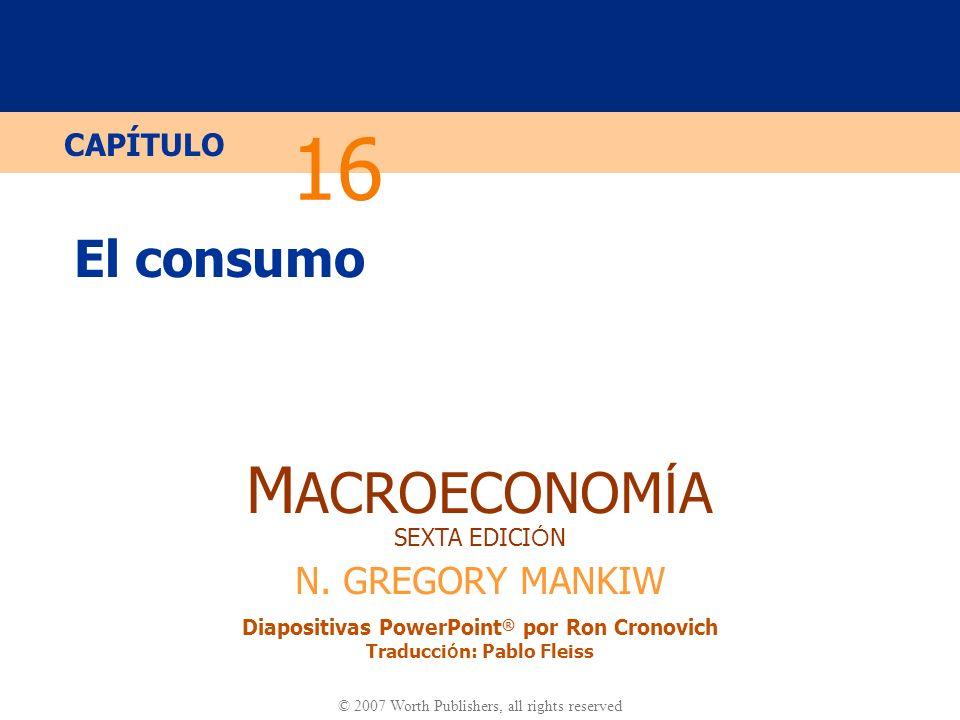 Diapositiva 10 CAPÍTULO 16 El Consumo Derivando la restricción presupuestaria intertemporal Restricción presupuestaria en el período 2 : Reagrupando los términos: Dividimos por (1+r ) para obtener…