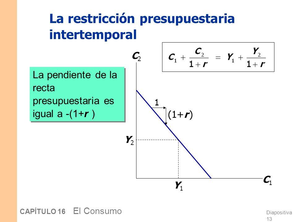 Diapositiva 12 CAPÍTULO 16 El Consumo La restricción presupuestaria intertemporal La restricción presupuestaria muestra todas las combinaciones de C 1