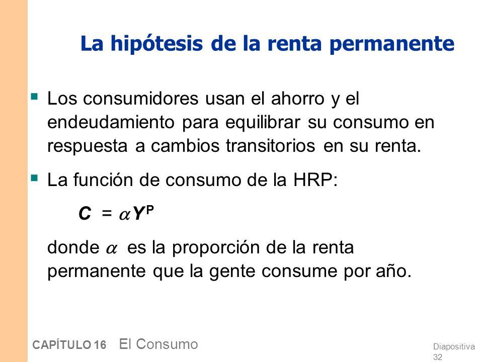 Diapositiva 31 CAPÍTULO 16 El Consumo La hipótesis de la renta permanente Elaborada por Milton Friedman (1957) Y = Y P + Y T donde Y = Renta actual Y