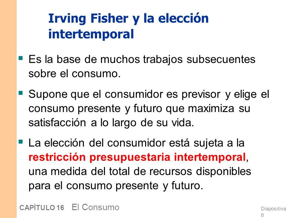 Diapositiva 8 CAPÍTULO 16 El Consumo Irving Fisher y la elección intertemporal Es la base de muchos trabajos subsecuentes sobre el consumo.