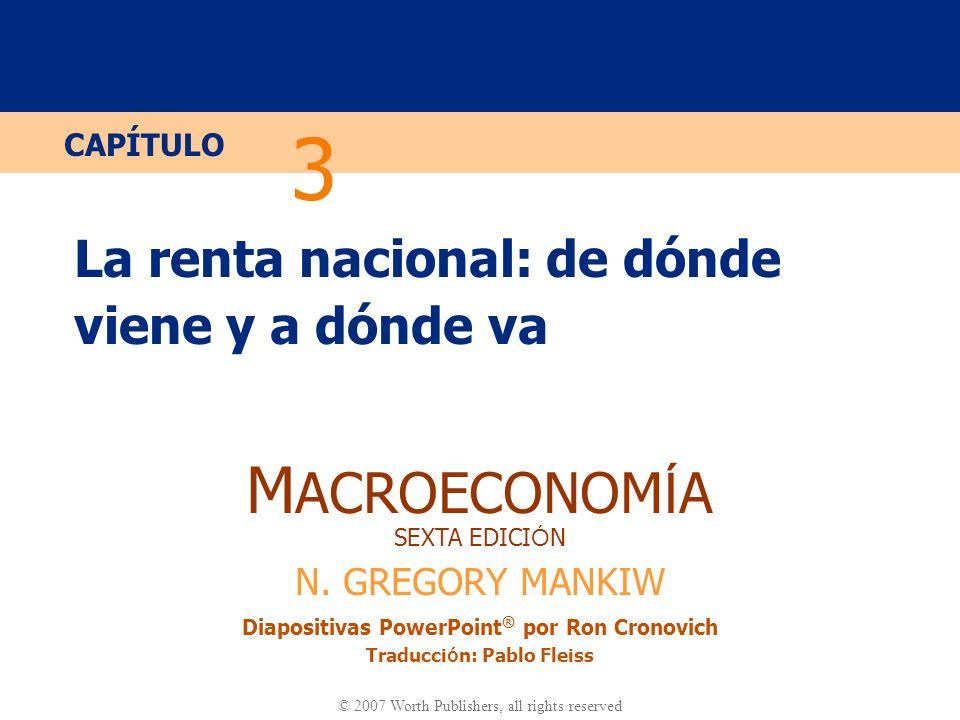 Diapositiva 30 CAPÍTULO 3 La renta nacional Cómo se distribuye la renta: Renta total del trabajo = Si la función de producción tiene rendimientos constantes a escala, entonces Renta total del capital = Renta del trabajo Renta del capital Renta nacional