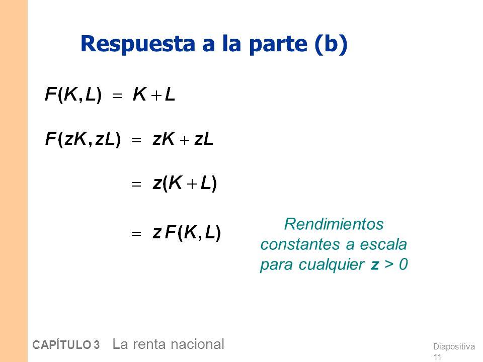 Diapositiva 10 CAPÍTULO 3 La renta nacional Respuesta a la parte (a) Rendimientos constantes a escala para cualquier z > 0