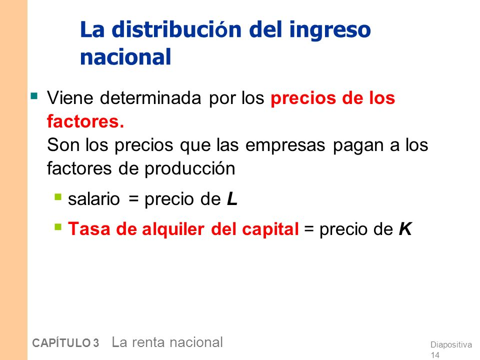 Diapositiva 13 CAPÍTULO 3 La renta nacional Determinando el PIB La producción está determinada por la oferta fija de factores y el estado fijo de la t