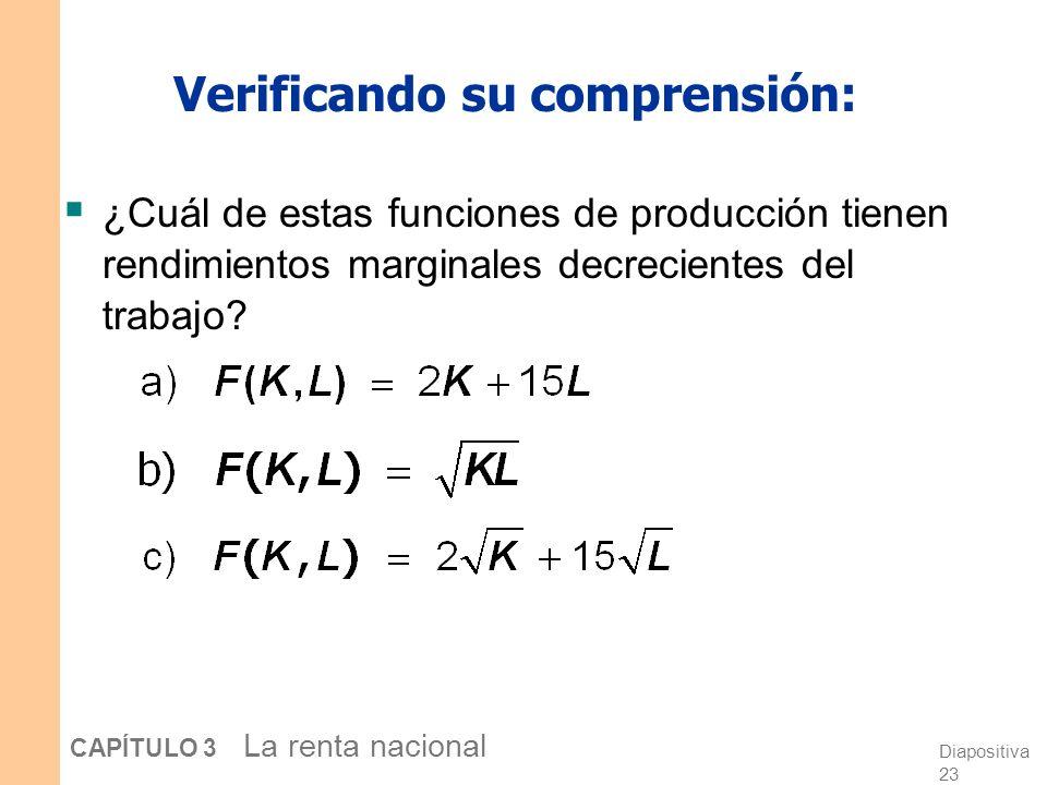 Diapositiva 22 CAPÍTULO 3 La renta nacional Retornos marginales decrecientes A medida que un factor de producción se incrementa, su producto marginal