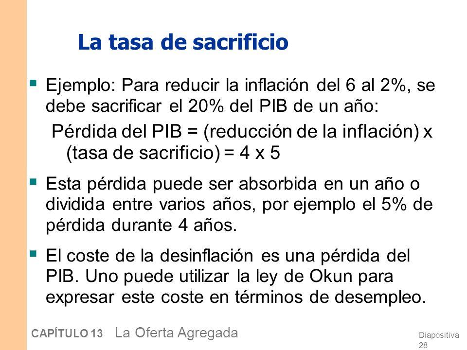 Diapositiva 28 CAPÍTULO 13 La Oferta Agregada La tasa de sacrificio Ejemplo: Para reducir la inflación del 6 al 2%, se debe sacrificar el 20% del PIB de un año: Pérdida del PIB = (reducción de la inflación) x (tasa de sacrificio) = 4 x 5 Esta pérdida puede ser absorbida en un año o dividida entre varios años, por ejemplo el 5% de pérdida durante 4 años.