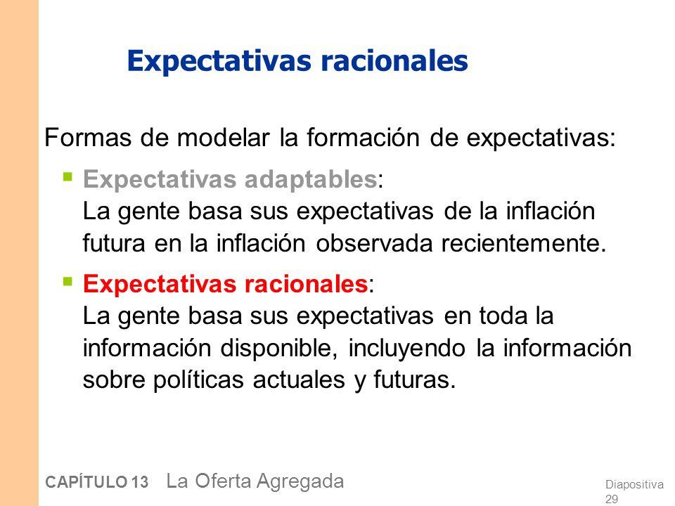 Diapositiva 29 CAPÍTULO 13 La Oferta Agregada Expectativas racionales Formas de modelar la formación de expectativas: Expectativas adaptables: La gente basa sus expectativas de la inflación futura en la inflación observada recientemente.