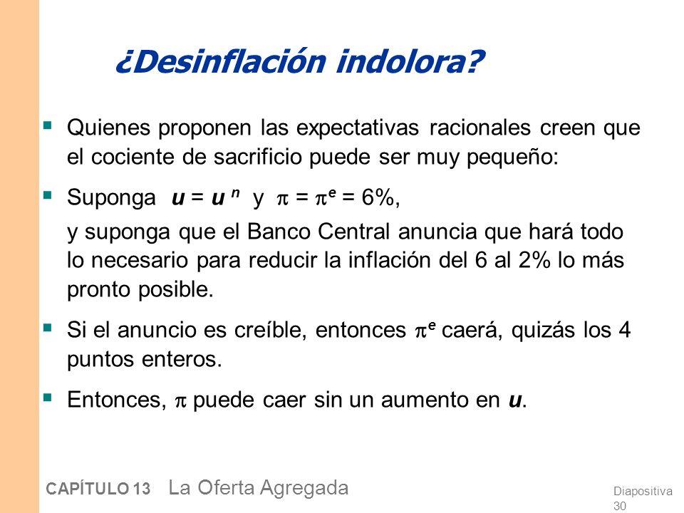 Diapositiva 30 CAPÍTULO 13 La Oferta Agregada ¿Desinflación indolora.