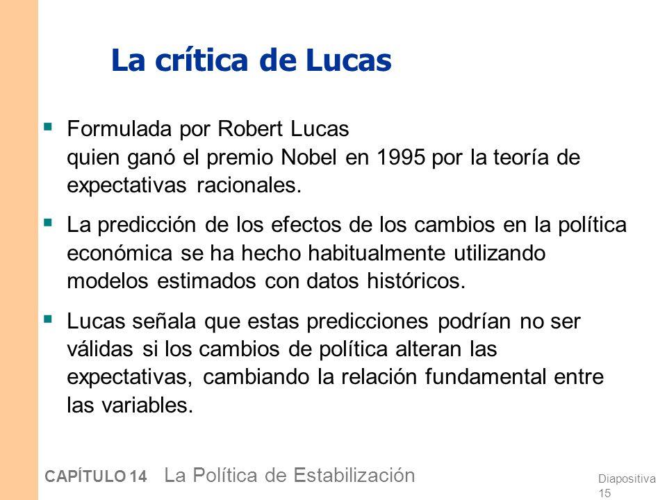 Diapositiva 14 CAPÍTULO 14 La Política de Estabilización Predecir la macroeconomía Puesto que las políticas actúan con retardos, quienes formulan la p
