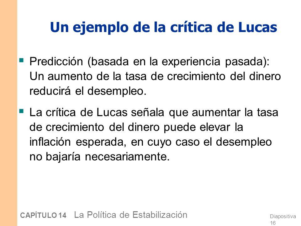 Diapositiva 15 CAPÍTULO 14 La Política de Estabilización La crítica de Lucas Formulada por Robert Lucas quien ganó el premio Nobel en 1995 por la teor