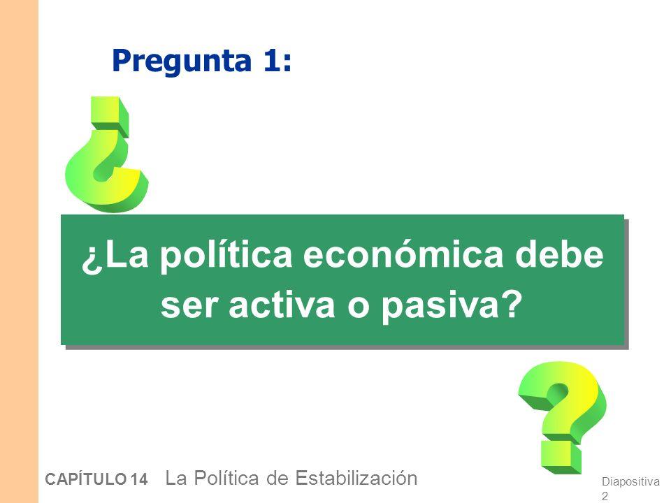 Diapositiva 1 CAPÍTULO 14 La Política de Estabilización En este capítulo, aprenderá… …acerca de dos debates de política económica: 1. ¿Debe ser la pol
