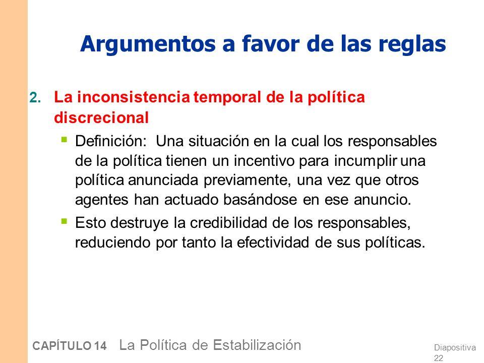 Diapositiva 21 CAPÍTULO 14 La Política de Estabilización Argumentos a favor de las reglas 1. Desconfianza hacia los responsables de la política económ