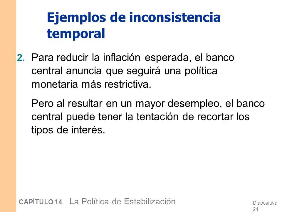 Diapositiva 23 CAPÍTULO 14 La Política de Estabilización Ejemplos de inconsistencia temporal 1. Para alentar la inversión, el gobierno anuncia que no