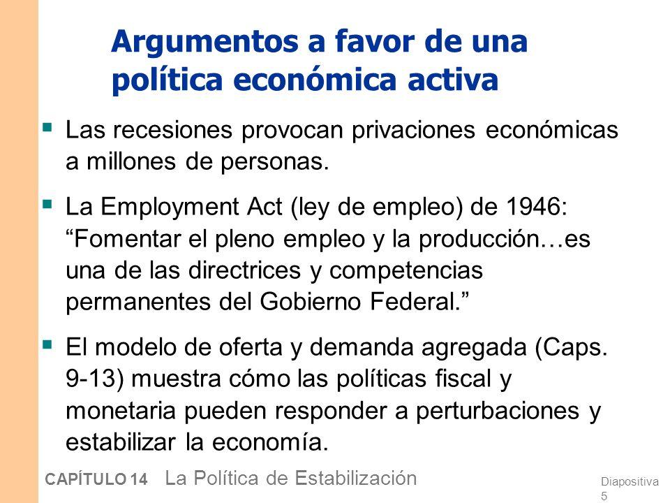 Diapositiva 4 CAPÍTULO 14 La Política de Estabilización Aumento del desempleo durante las recesiones DesdeHasta Aumento en el Nº de personas en paro (