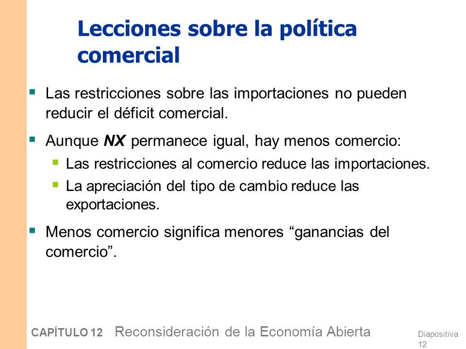 Diapositiva 11 CAPÍTULO 12 Reconsideración de la Economía Abierta La política comercial bajo tipos de cambios fluctuantes Y e e1e1 Y1Y1 e2e2 Para cual