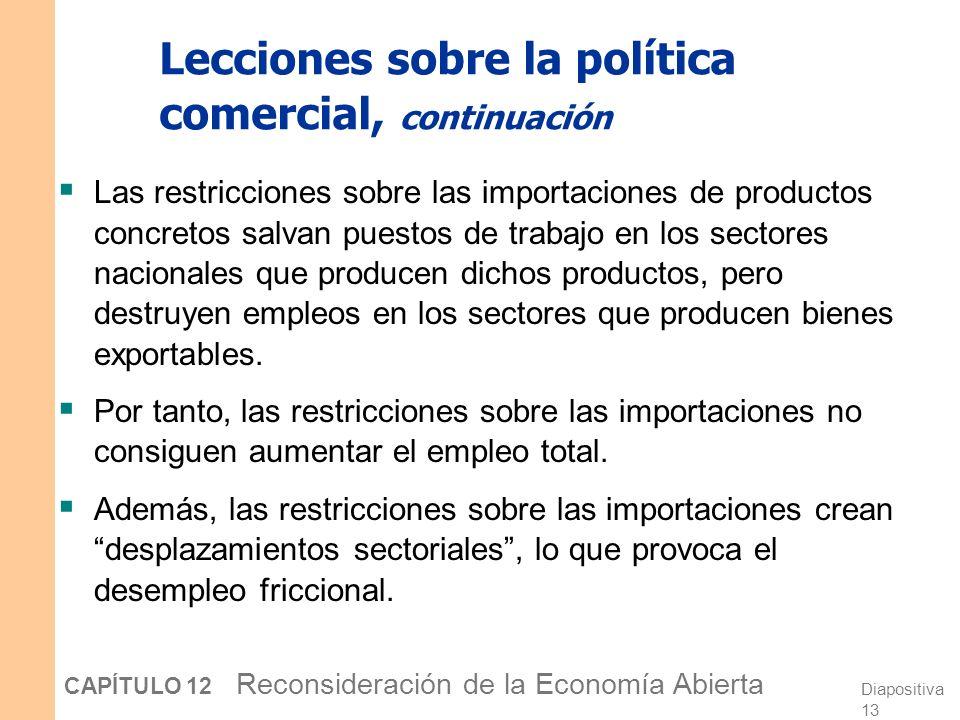 Diapositiva 12 CAPÍTULO 12 Reconsideración de la Economía Abierta Lecciones sobre la política comercial Las restricciones sobre las importaciones no p