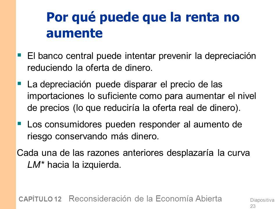 Diapositiva 22 CAPÍTULO 12 Reconsideración de la Economía Abierta La caída de e es intuitiva: Un aumento en el riesgo país o una depreciación esperada