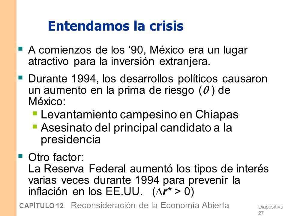 Diapositiva 26 CAPÍTULO 12 Reconsideración de la Economía Abierta La crisis del Peso no sólo afectó a México Los bienes de EE.UU. se encarecieron para