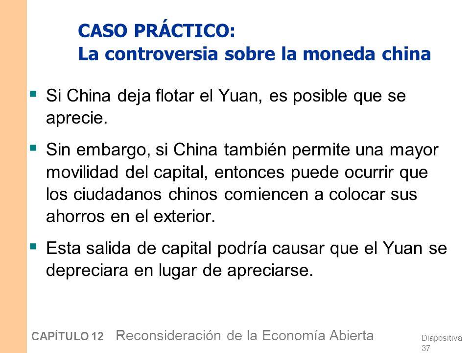 Diapositiva 36 CAPÍTULO 12 Reconsideración de la Economía Abierta CASO PRÁCTICO: La controversia sobre la moneda china 1995-2005: China fijó su tipo d
