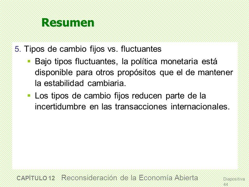 Resumen 3. La política monetaria Afecta la renta bajo tipos de cambio fluctuantes. Bajo tipos de cambios fijos, la política monetaria no es capaz de a
